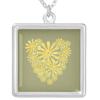 Yellow flower heart on green necklace