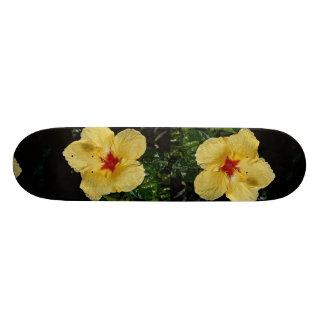 Yellow flower hybrid hibiscus skateboard deck