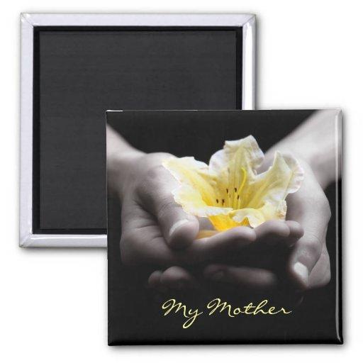 Yellow Flower In Hands For Mother Fridge Magnet