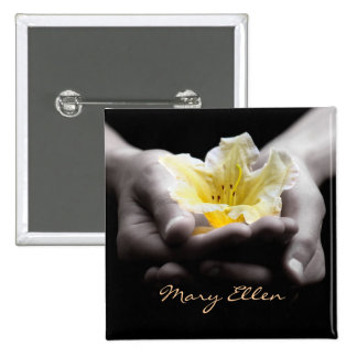 Yellow Flower In Hands With Name Button