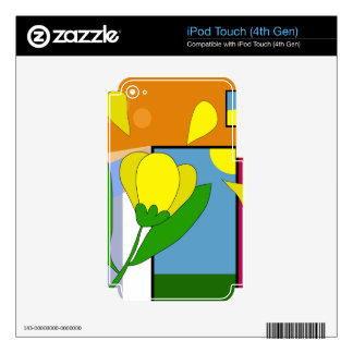 Yellow flower iPod touch 4G decals
