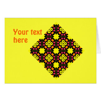 Yellow Flower Kaleidoscope Pattern Abstract Art Card