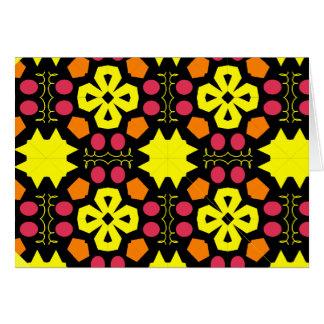 Yellow Flower Kaleidoscope Pattern Abstract Art Greeting Cards