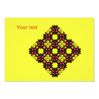 Yellow Flower Kaleidoscope Pattern Abstract Art Invites