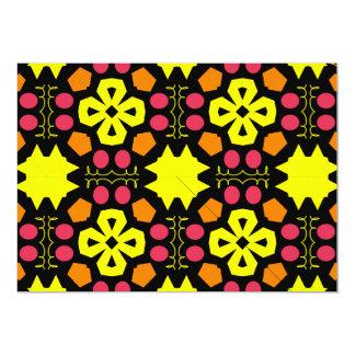 Yellow Flower Kaleidoscope Pattern Abstract Art Personalized Invitations