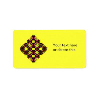 Yellow Flower Kaleidoscope Pattern Abstract Art Custom Address Label