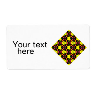 Yellow Flower Kaleidoscope Pattern Abstract Art Custom Shipping Label