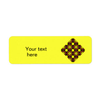 Yellow Flower Kaleidoscope Pattern Abstract Art Custom Return Address Labels