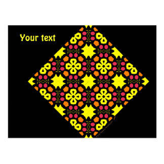 Yellow Flower Kaleidoscope Pattern Abstract Art Postcard