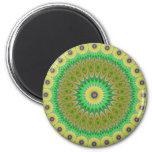 Yellow flower mandala 2 inch round magnet