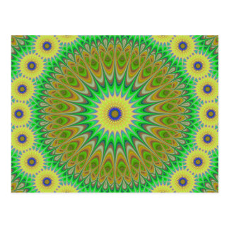 Yellow flower mandala postcard