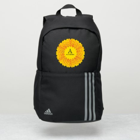 Yellow Flower Monogrammed Personalize Adidas Backpack
