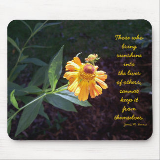 Yellow flower mousepad with James Barrie quote