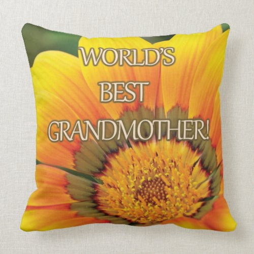 Yellow Flower on Green World's Best Grandmother Throw Pillow