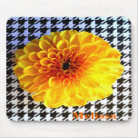 yellow flower on houndstooth mousepad
