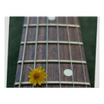 Yellow flower on receeding five string bass neck print