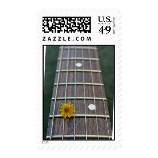 Yellow flower on receeding five string bass neck stamp