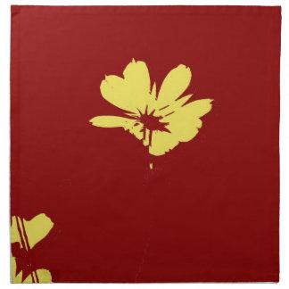 Yellow Flower on Red Background - Fine art Napkin