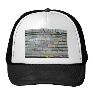 Yellow Flower Over Stone Wall Background Trucker Hat