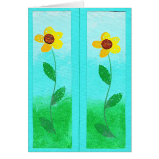 Yellow flower painting, bookmark greeting cards