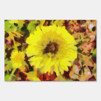 Yellow flower painting signs