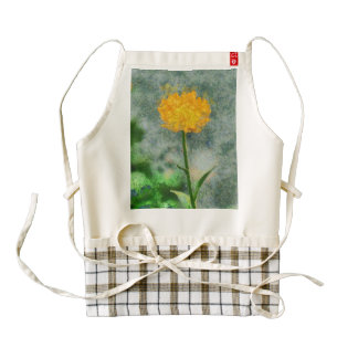 Yellow flower painting zazzle HEART apron