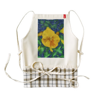 Yellow flower painting zazzle HEART apron