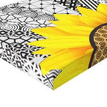 Yellow Flower Pattern Rays Canvas Prints