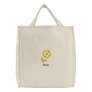 Yellow Flower Personalized Embroidered Bag
