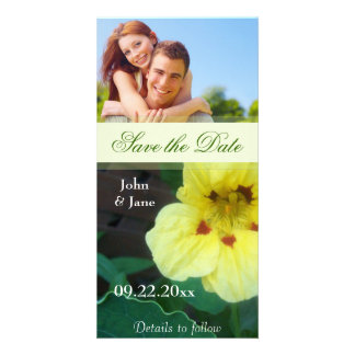 """Yellow Flower/photo  """"Save the Date"""" Photo Cards"""