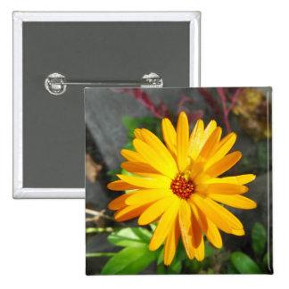 Yellow flower pinback button