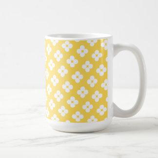 Yellow Flower Polka Dot Pattern Mug