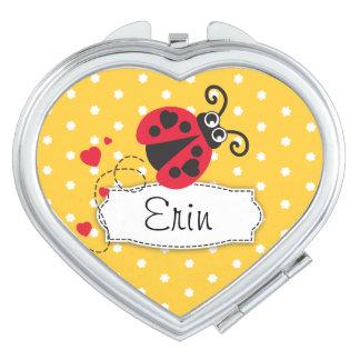 Yellow flower polka dots name ladybug mirror