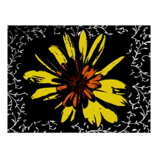 Yellow Flower Power Poster
