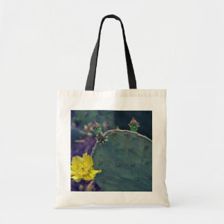 Yellow-Flower Prickly Pear Cactus flowers Tote Bags
