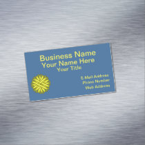 Yellow Flower Ribbon Business Card Magnet