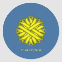 Yellow Flower Ribbon by Kenneth Yoncich Classic Round Sticker