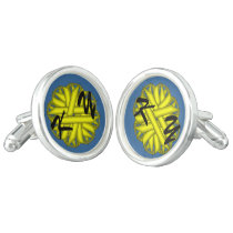 Yellow Flower Ribbon by Kenneth Yoncich Cufflinks