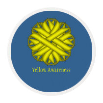 Yellow Flower Ribbon by Kenneth Yoncich Edible Frosting Rounds
