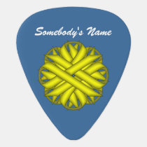 Yellow Flower Ribbon by Kenneth Yoncich Guitar Pick