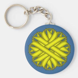 Yellow Flower Ribbon by Kenneth Yoncich Keychain