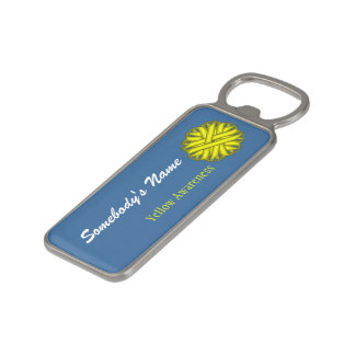 Yellow Flower Ribbon by Kenneth Yoncich Magnetic Bottle Opener