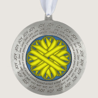 Yellow Flower Ribbon by Kenneth Yoncich Pewter Ornament