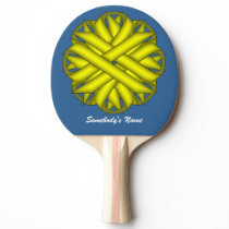 Yellow Flower Ribbon by Kenneth Yoncich Ping-Pong Paddle