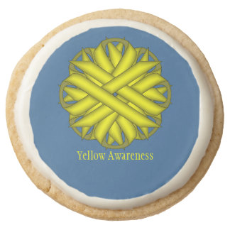 Yellow Flower Ribbon by Kenneth Yoncich Round Shortbread Cookie