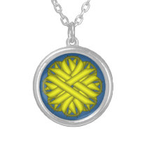 Yellow Flower Ribbon by Kenneth Yoncich Silver Plated Necklace