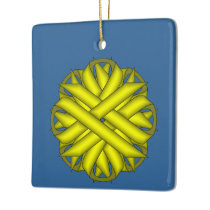 Yellow Flower Ribbon Ceramic Ornament