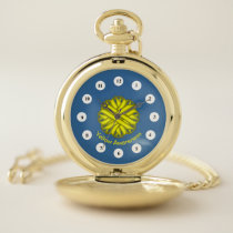 Yellow Flower Ribbon (Cf) by K Yoncich Pocket Watch