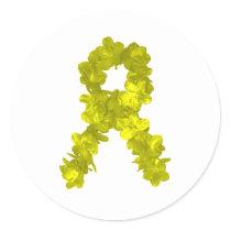 Yellow Flower Ribbon Classic Round Sticker