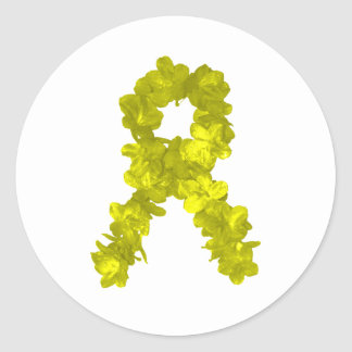 Yellow Flower Ribbon Classic Round Sticker